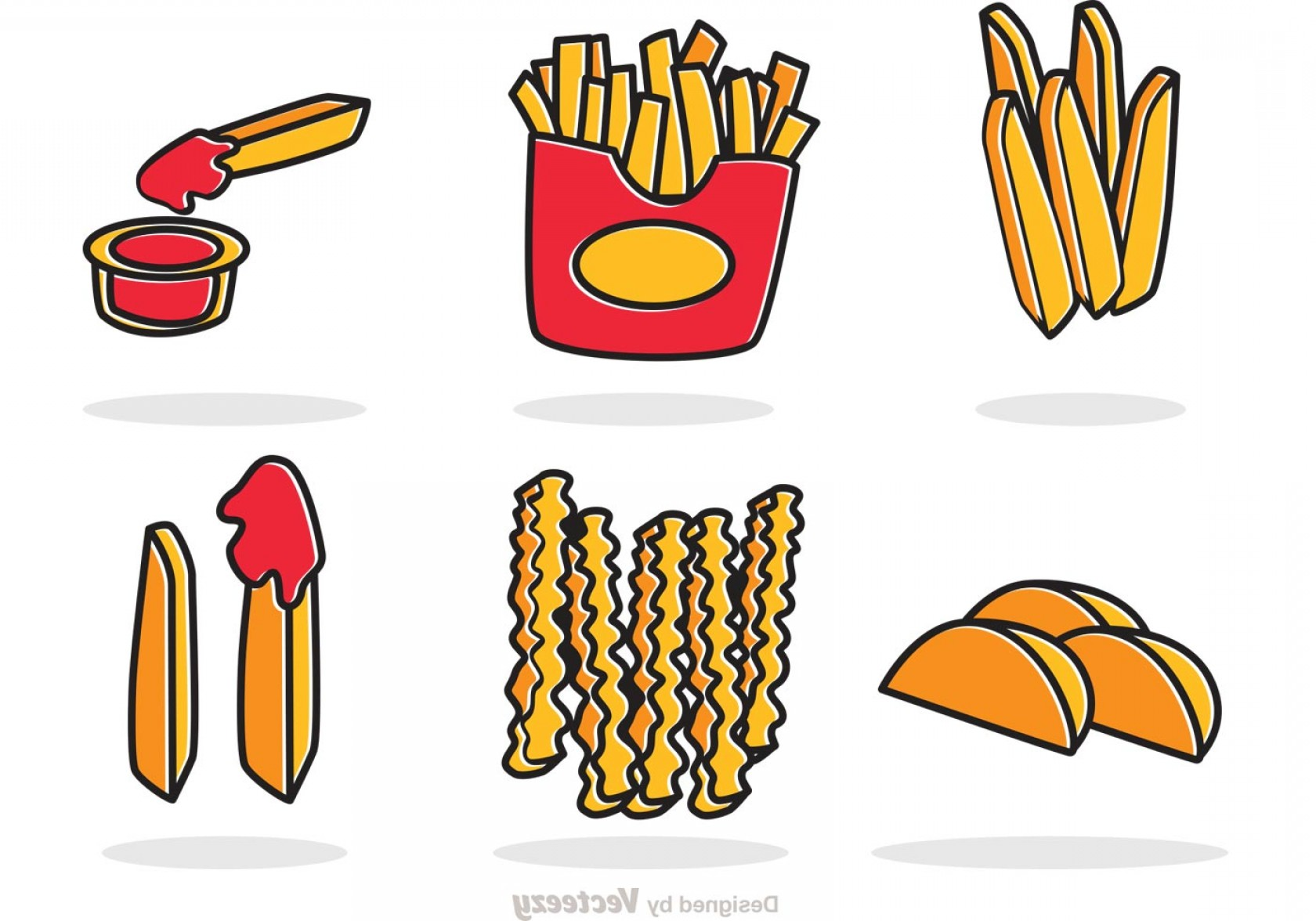Fries Vector: Set Of French Fries Vector