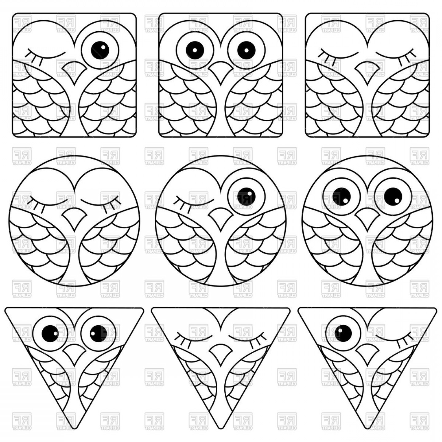 Funny Black And White Vector: Set Of Funny Black And White Owl Faces Vector Clipart