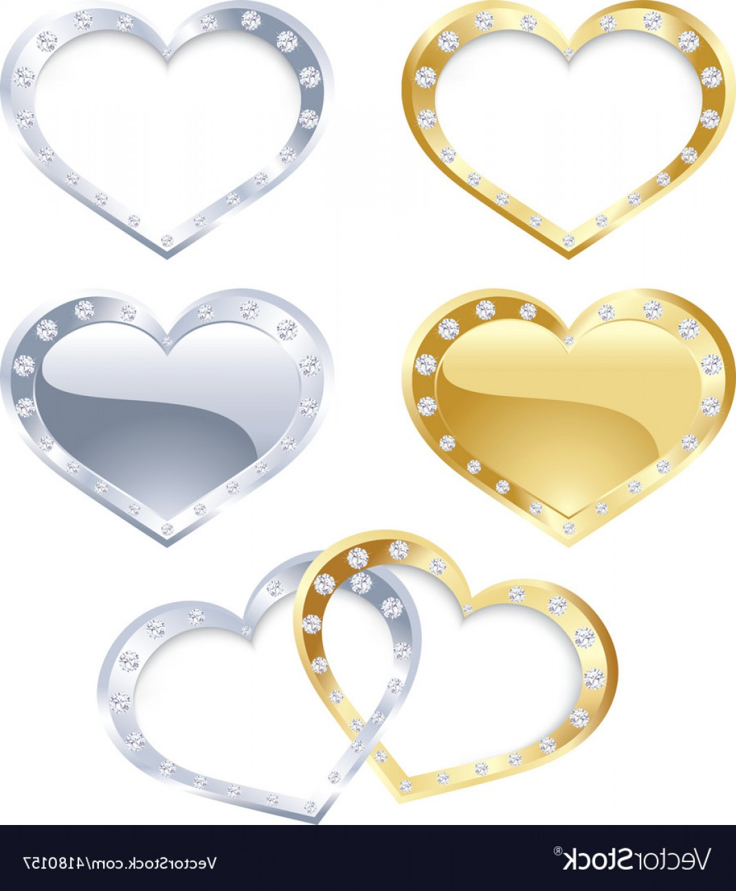Silver Heart Vector: Set Of Gold And Silver Heart Vector