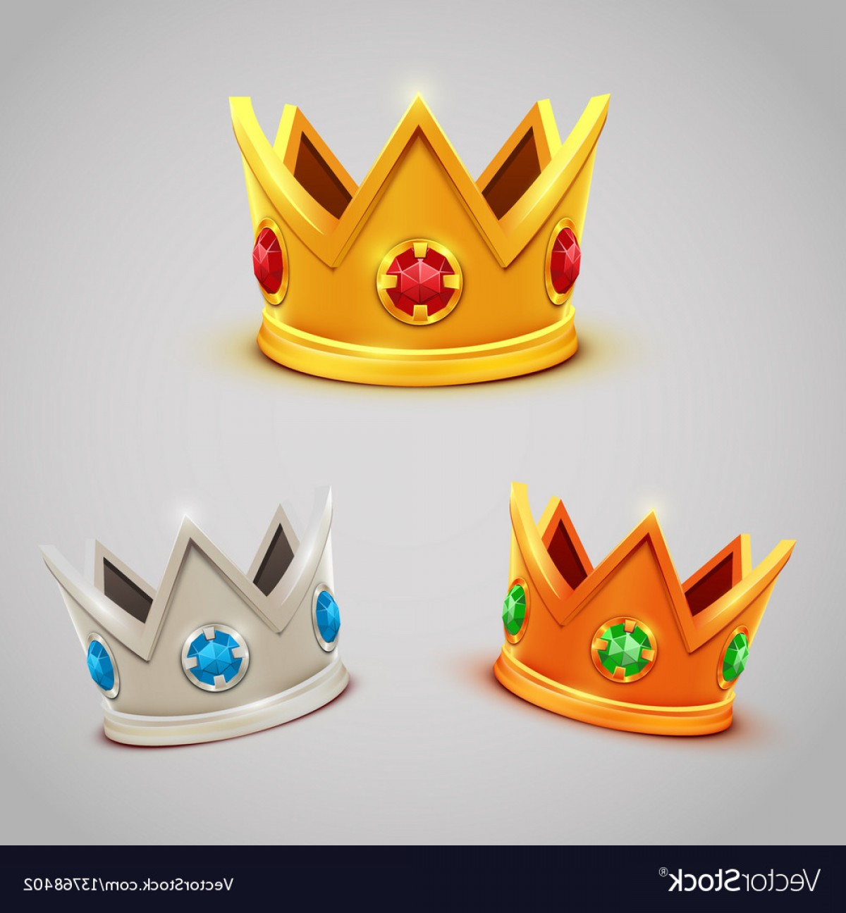 Silver Prince Vector: Set Of Gold Silver Bronze Crowns With Jewels Vector