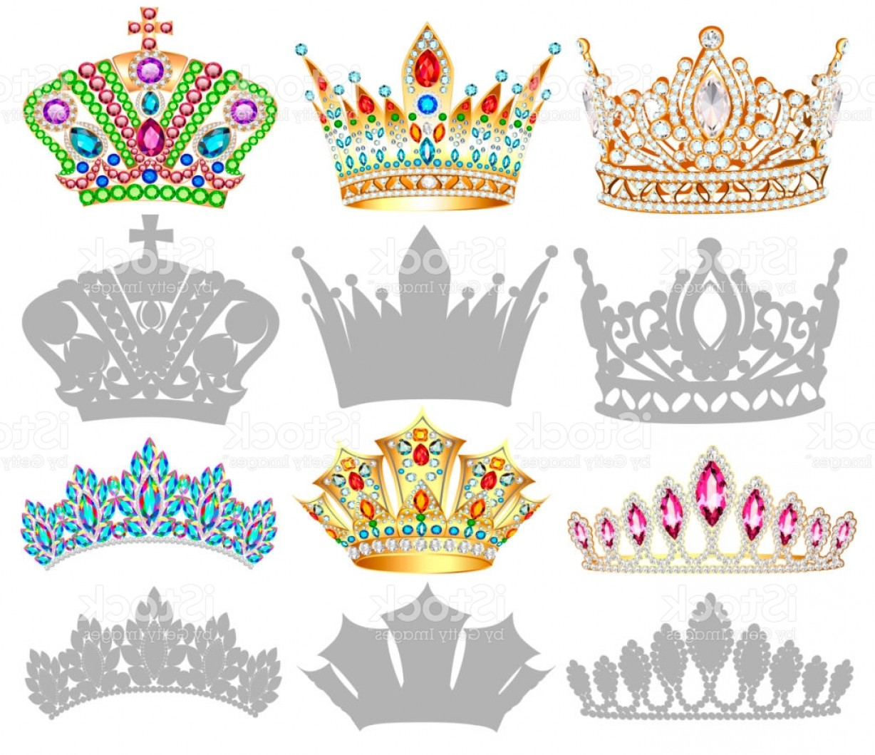 Baby Tiara Silhouette Vector: Set Of Golden Crown Illustrations Tiara Diadem And Silhouettes On White Background Gm