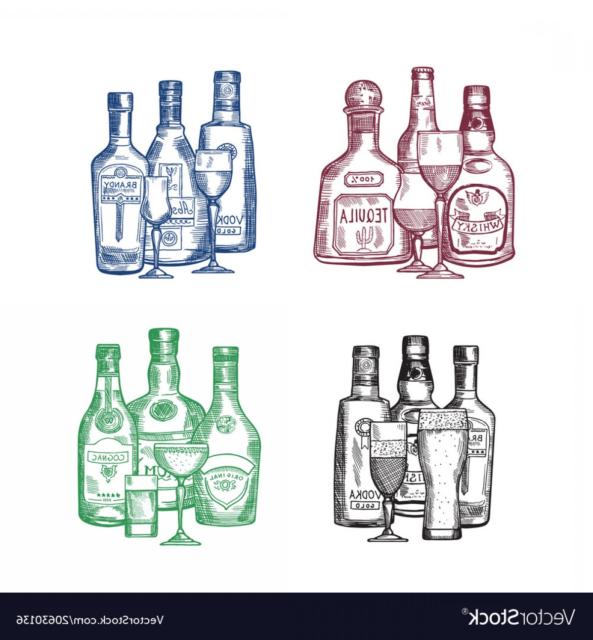 Booze Bottle Vector: Set Of Hand Drawn Alcohol Drink Bottles And Vector