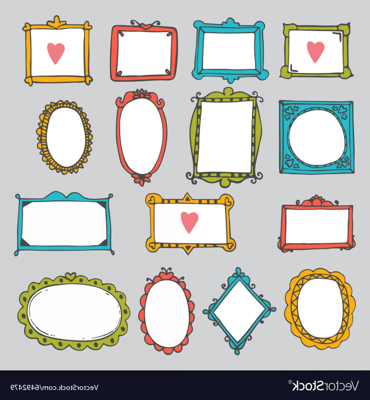 Cute Design Elements Vector Set: Set Of Hand Drawn Frames Cute Design Elements Vector