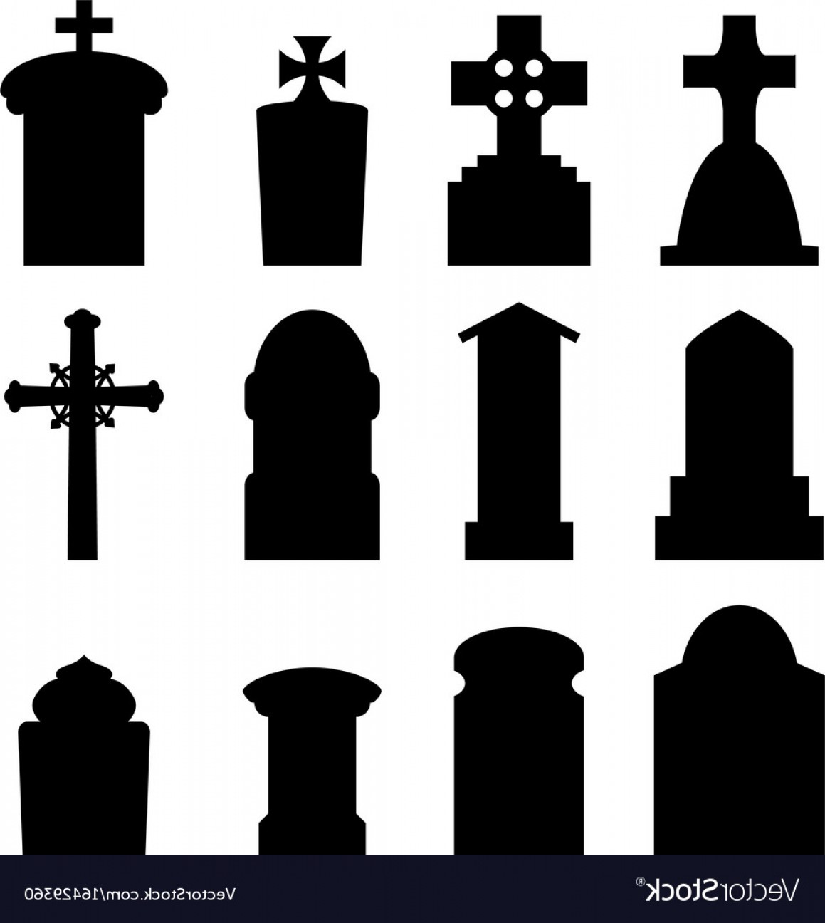 Gravestone Outline Vector: Set Of Headstone And Tombstone In Silhouette Vector