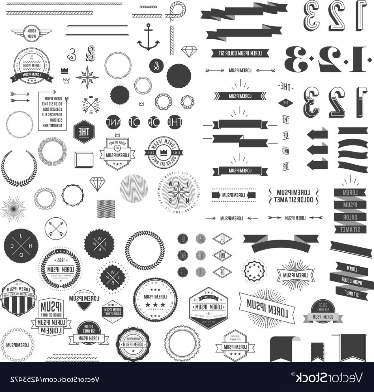 Free Vector Hipster: Set Of Hipster Elements Vector