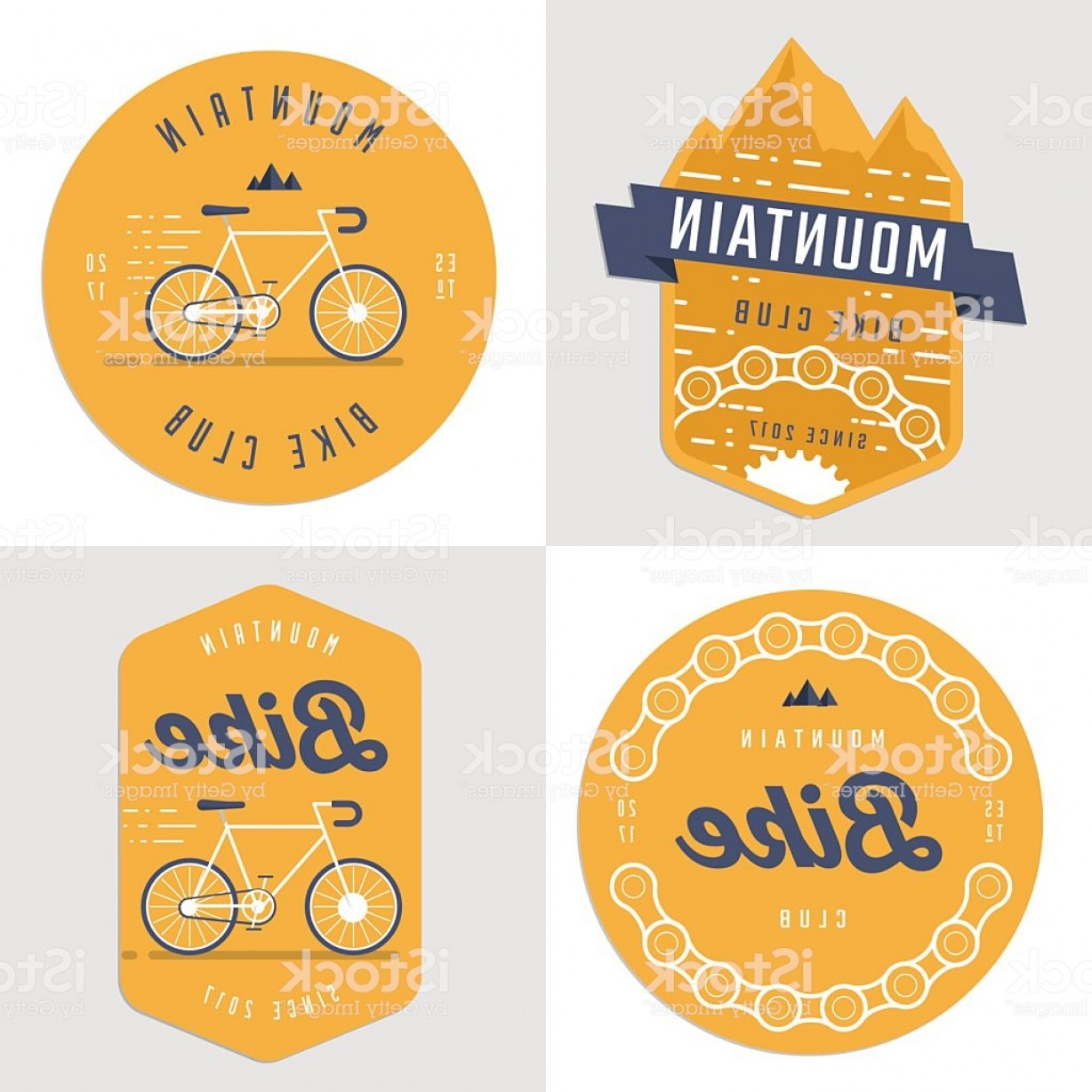 Hipster Logo Vectors Mountain: Set Of Hipster Logo Badges For Mountain Bike Club Gm