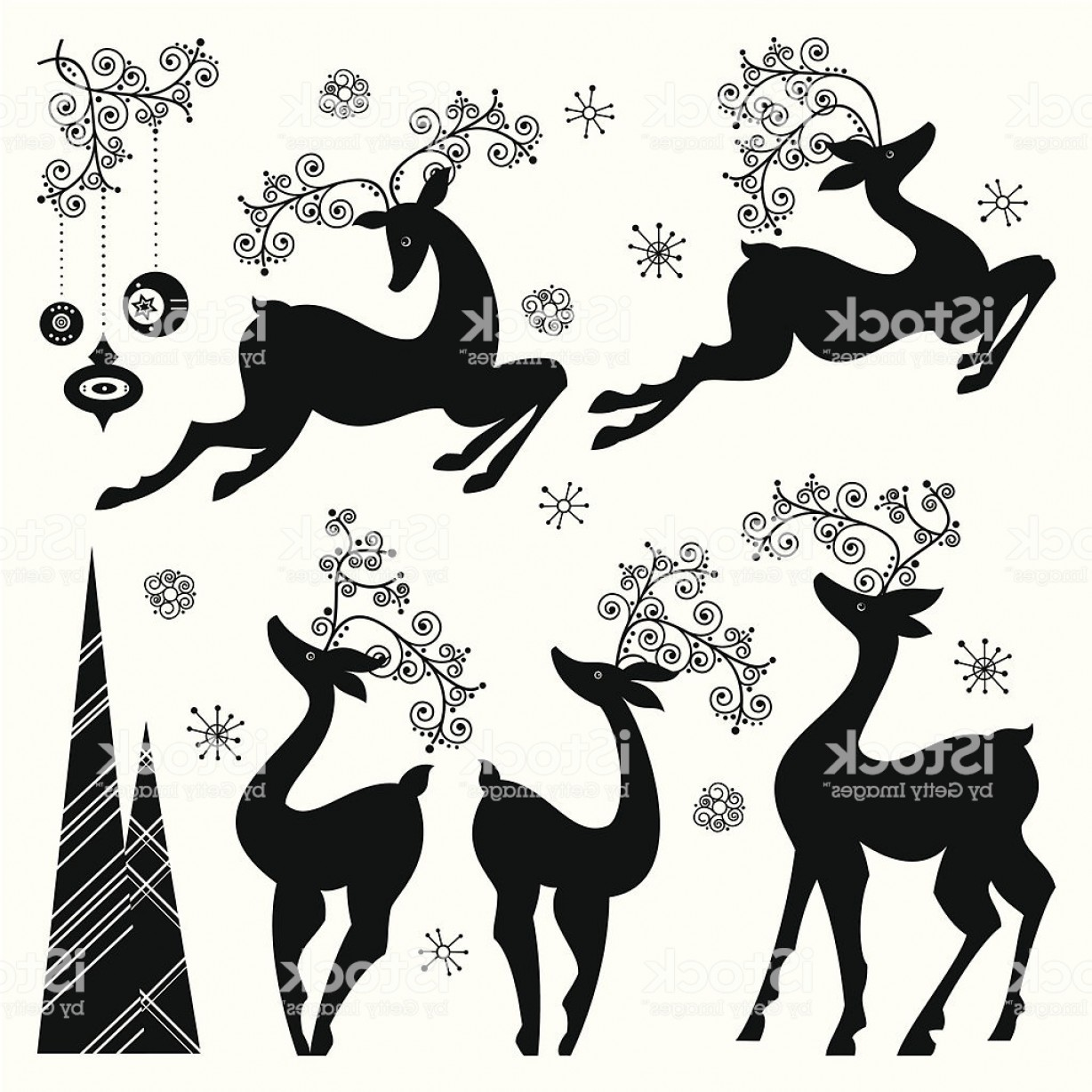 Black And White Holiday Deer Vector: Set Of Holiday Reindeer Gm