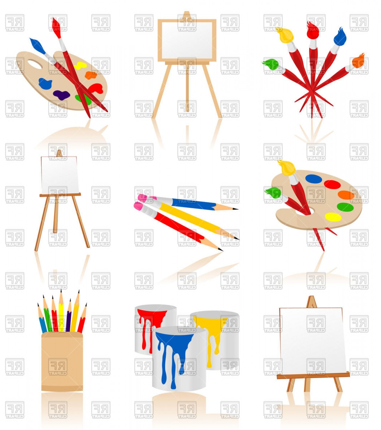 Artwork Vector File: Set Of Icons For Artist Vector Clipart