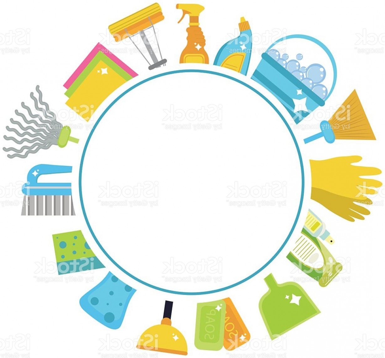 Cleaning Vector Background: Set Of Icons For Cleaning Tools House Cleaning Cleaning Supplies Gm