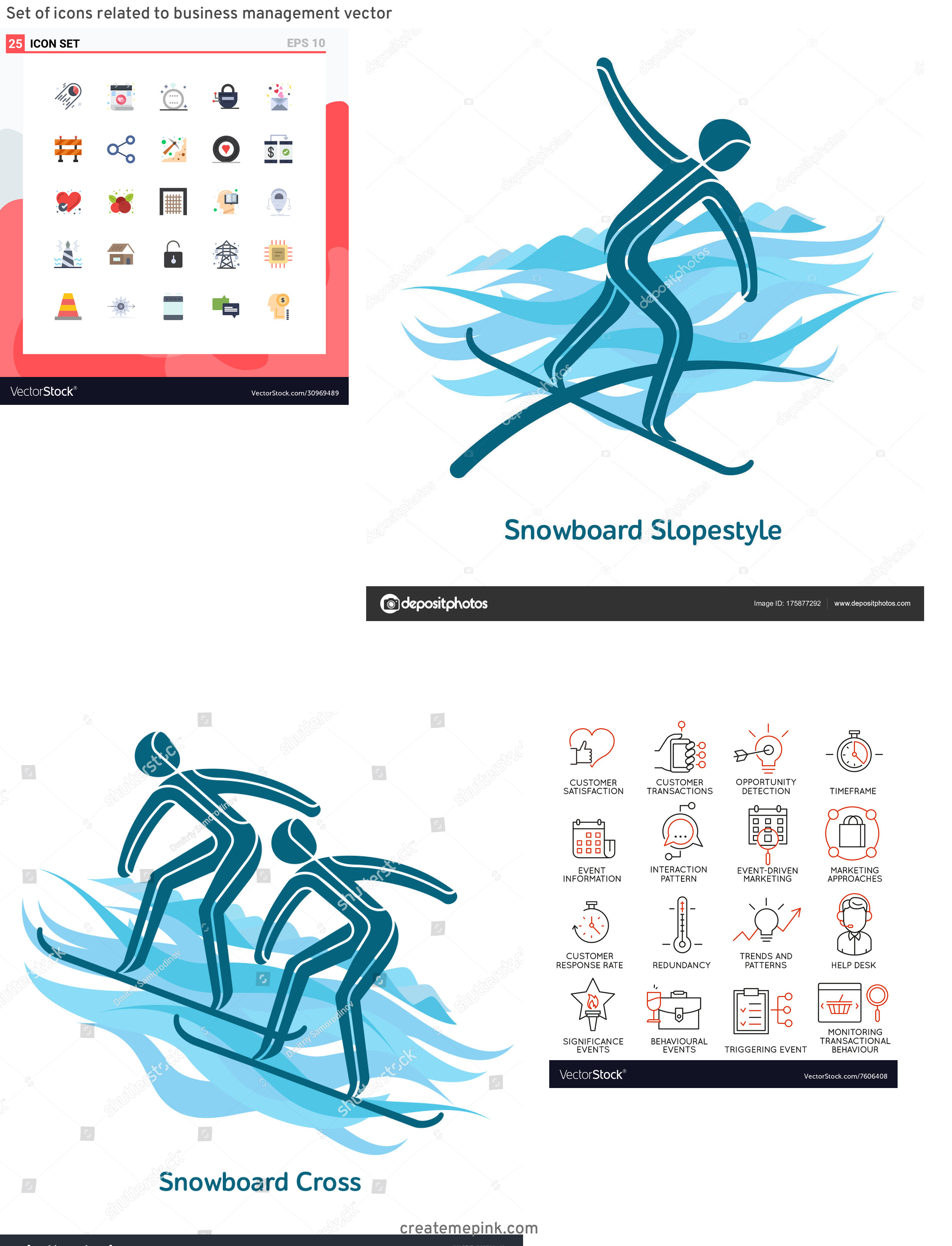 Vector Pictograms Events: Set Of Icons Related To Business Management Vector