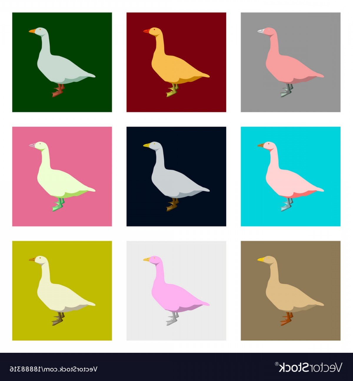 Geese Vector: Set Of In Flat Style Geese Vector