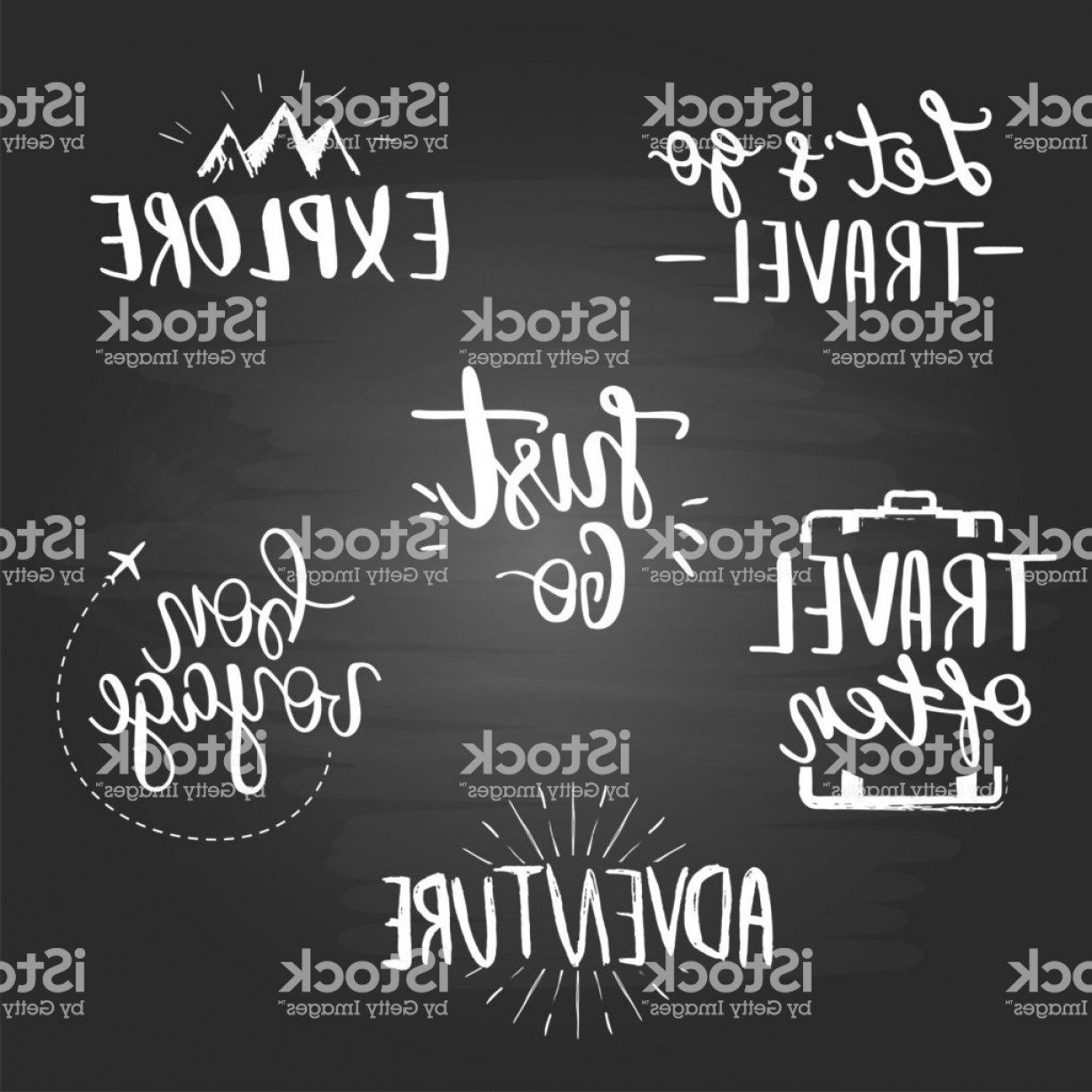 Inspirational Backgrounds Vector: Set Of Inspirational Travel Quotes On The Blackboard Background Gm