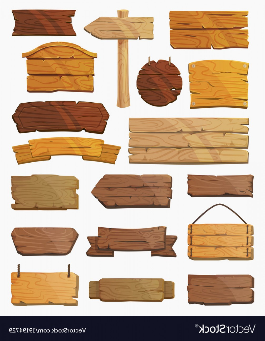 Wood Plank Vector Art: Set Of Isolated Pointers Signs Or Wooden Planks Vector
