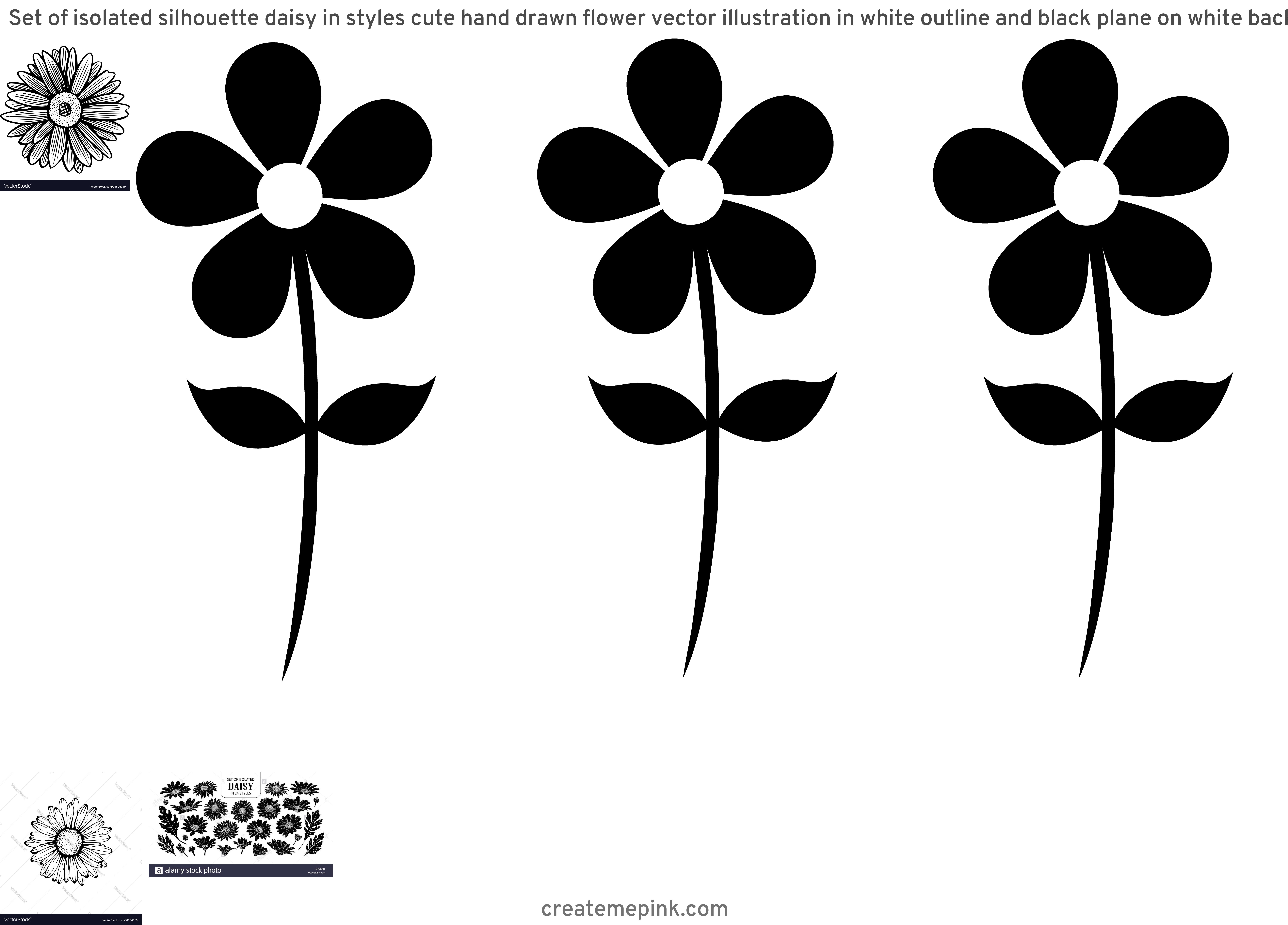 Flower Daisey Black Vector Art: Set Of Isolated Silhouette Daisy In Styles Cute Hand Drawn Flower Vector Illustration In White Outline And Black Plane On White Background Image