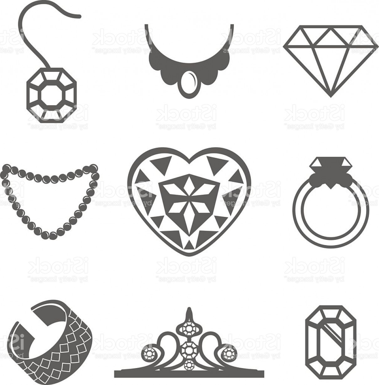 Jewelry Vector Line Art: Set Of Jewelry Icons Ring Gem Necklace Vector Gm