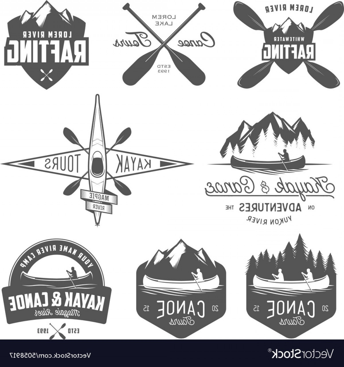 Canoe Vector: Set Of Kayak And Canoe Design Elements Vector