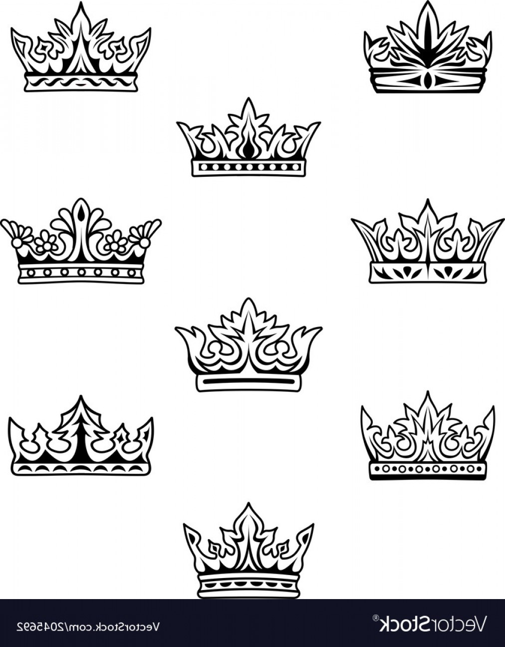 King And Queen Vector: Set Of King And Queen Crowns Vector