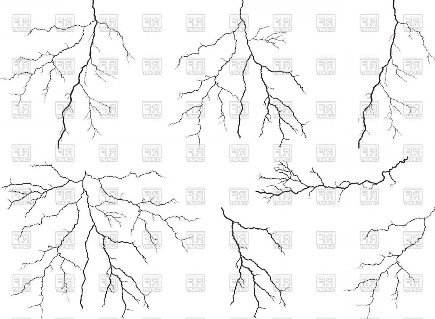 Free EPS Vector Art: Set Of Lightning Vector Clipart