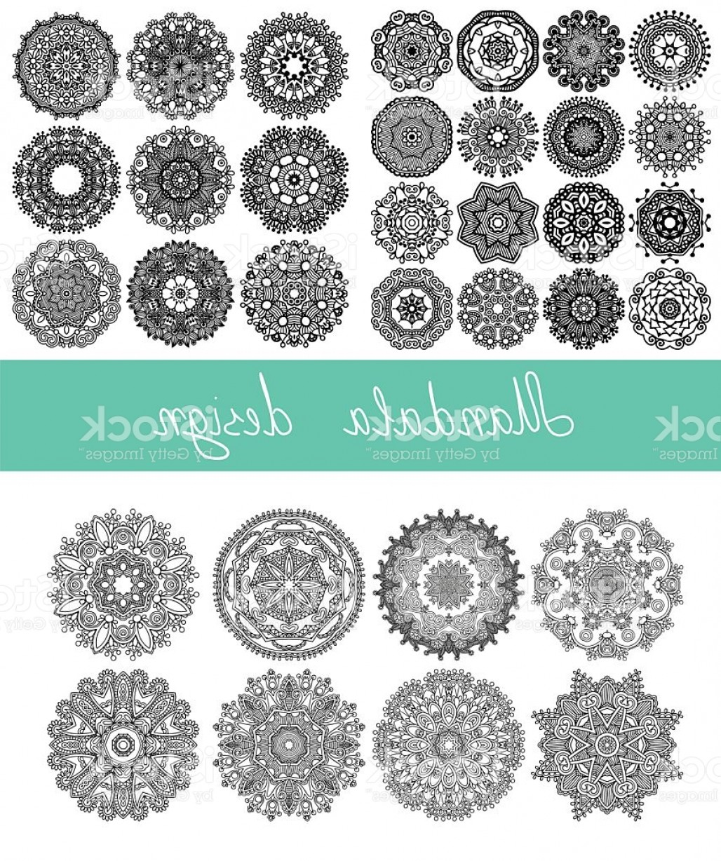 Vector Ornament Sets: Set Of Mandala Design Circle Ornament Collection For Print Gm