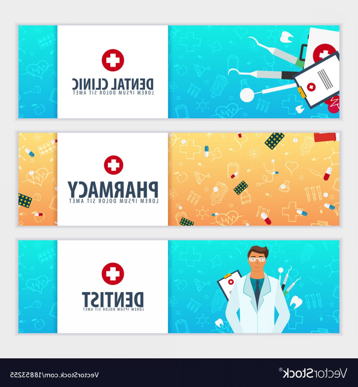 Vector Health Insurance: Set Of Medical Banners Health Care Vector