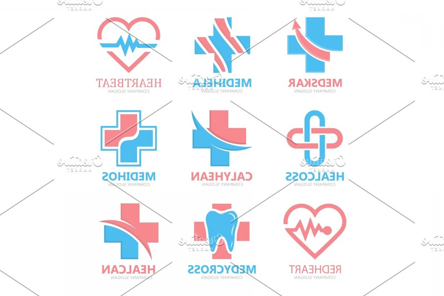 Tooth Vector Logo: Set Of Medical Cross Logo