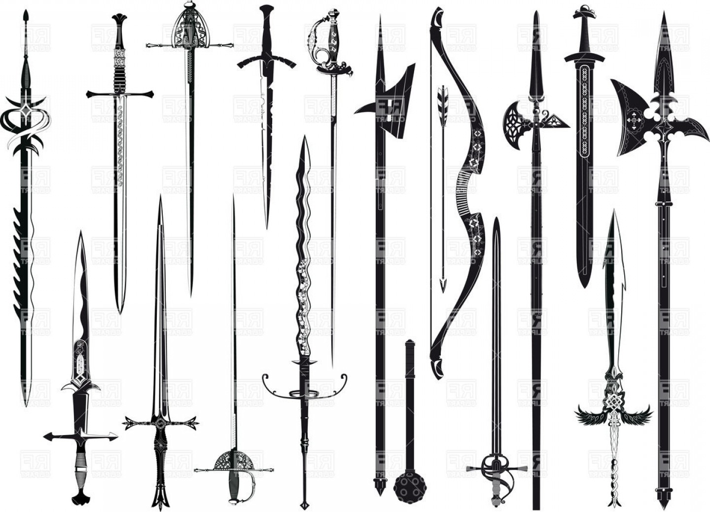 Pike Spear Vector: Set Of Medieval Weapon Vector Clipart