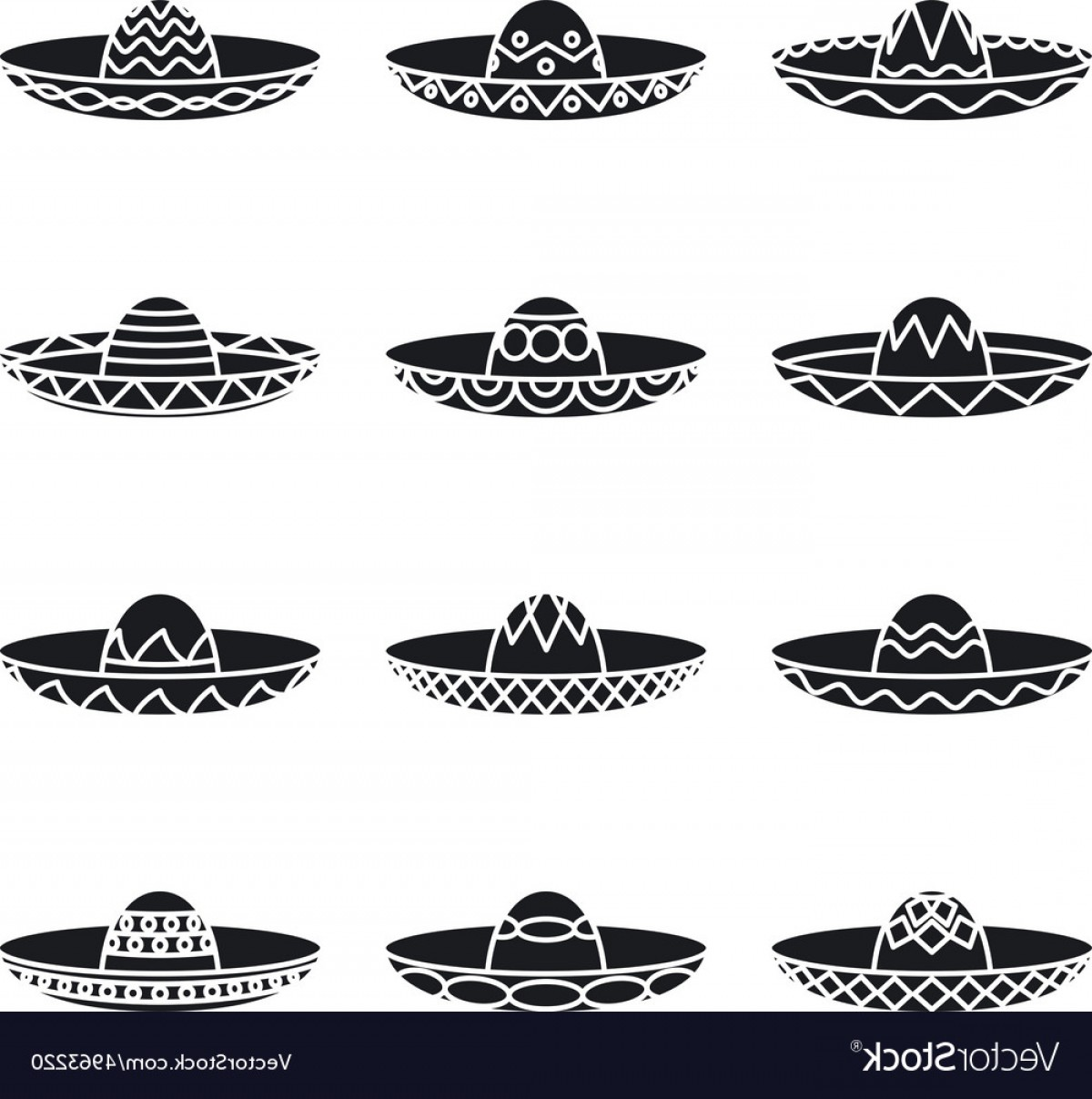 Sombrero Hat Vector: Set Of Mexican Sombrero Hat Vector