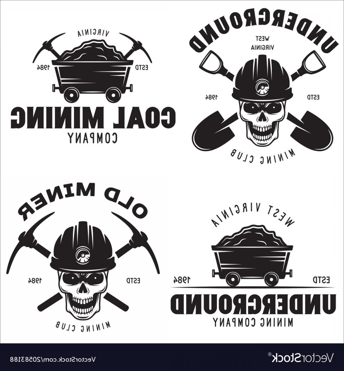 Construction Logos Vector Black And White: Set Of Mining Or Construction Logos Badges Vector