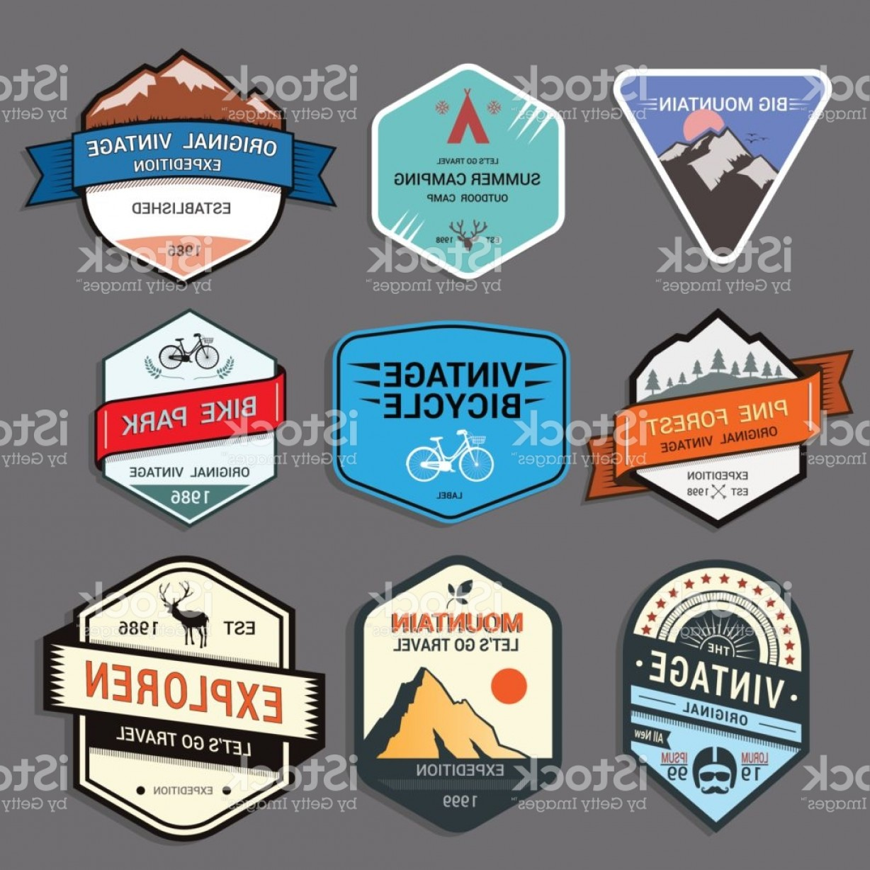 Wildlife Vector Logo Badge: Set Of Mountain Adventure And Expedition Logo Badges Gm
