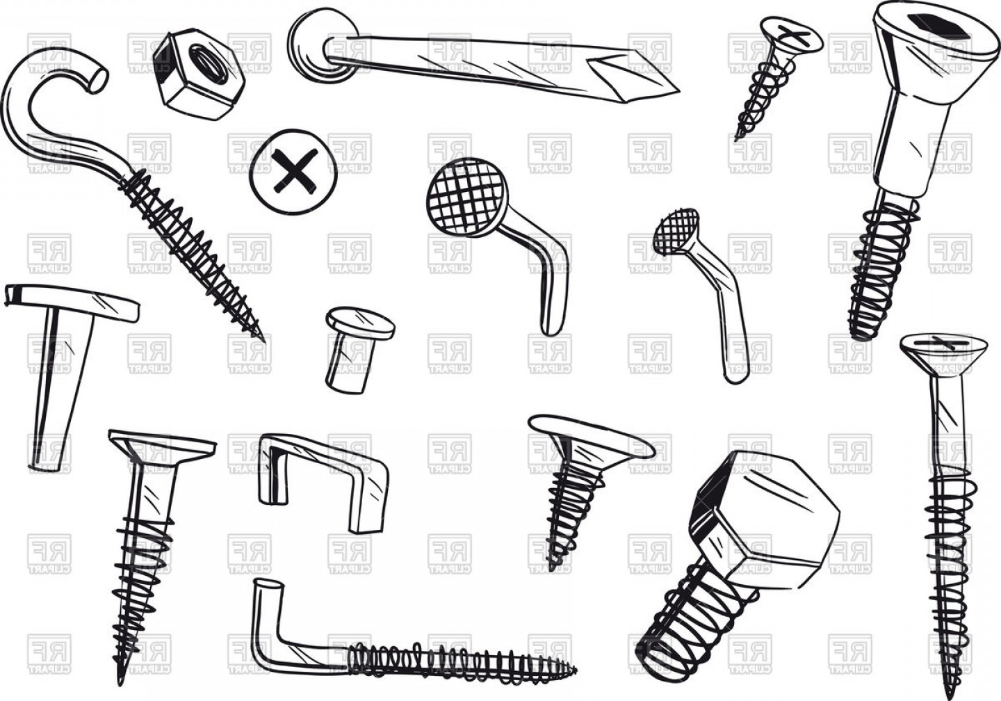 Fastener Vector: Set Of Of Various Doodle Drawn Fasteners Vector Clipart