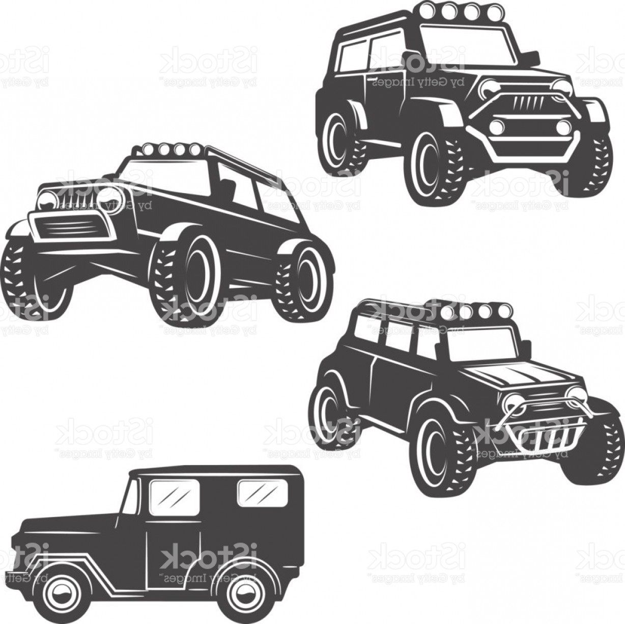Jeep Off-Road Vector Art: Set Of Off Road Cars Icons Isolated On White Background Images For Label Emblem Gm