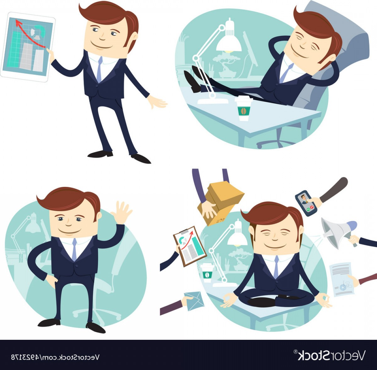Salesman Vector: Set Of Officeman Lazy Worker Foot On Desk Salesman Vector
