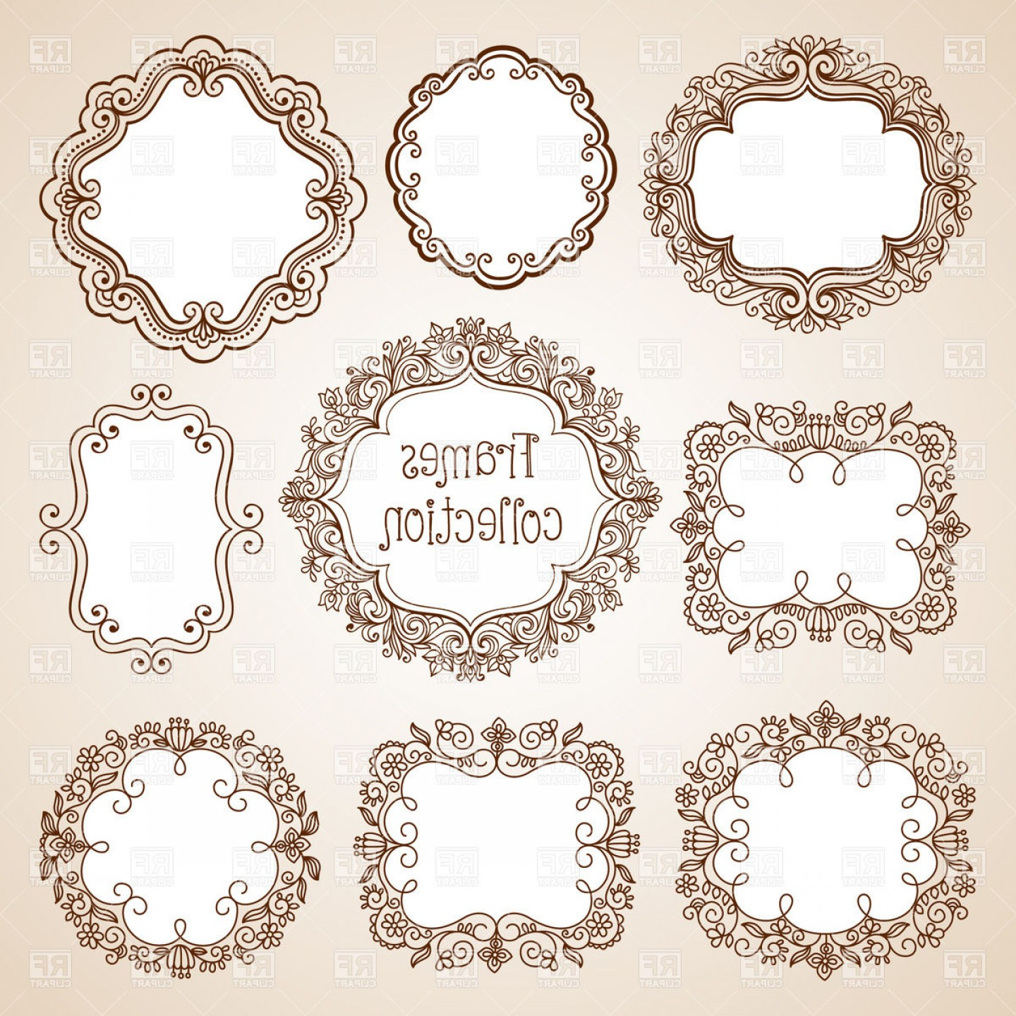Vector Ornate Vintage Frame Blank: Set Of Ornate Vintage Frames Round Oval And Square Vector Clipart