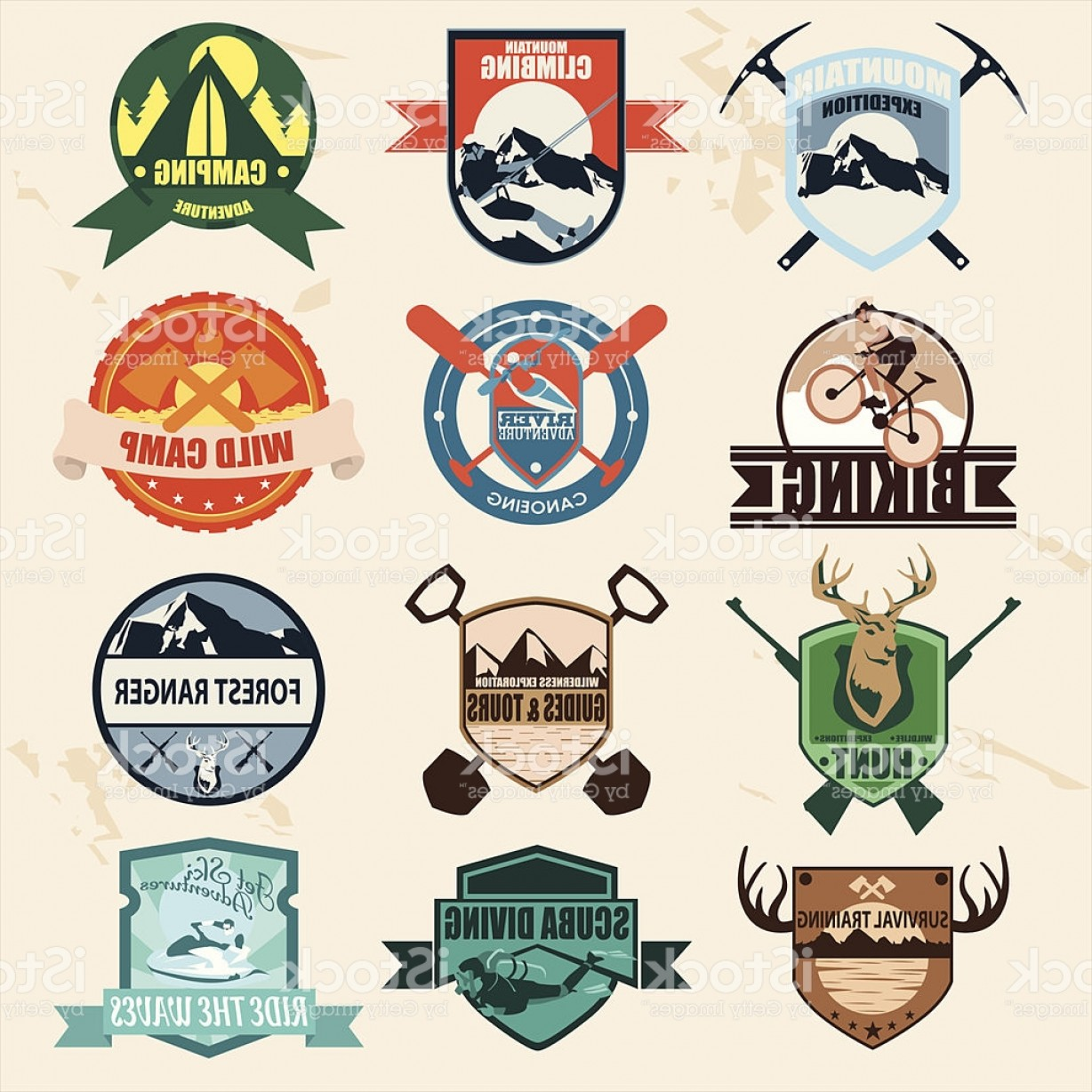 Wildlife Vector Logo Badge: Set Of Outdoor Adventure Badges And Hunting Logo Labels Emblems Gm