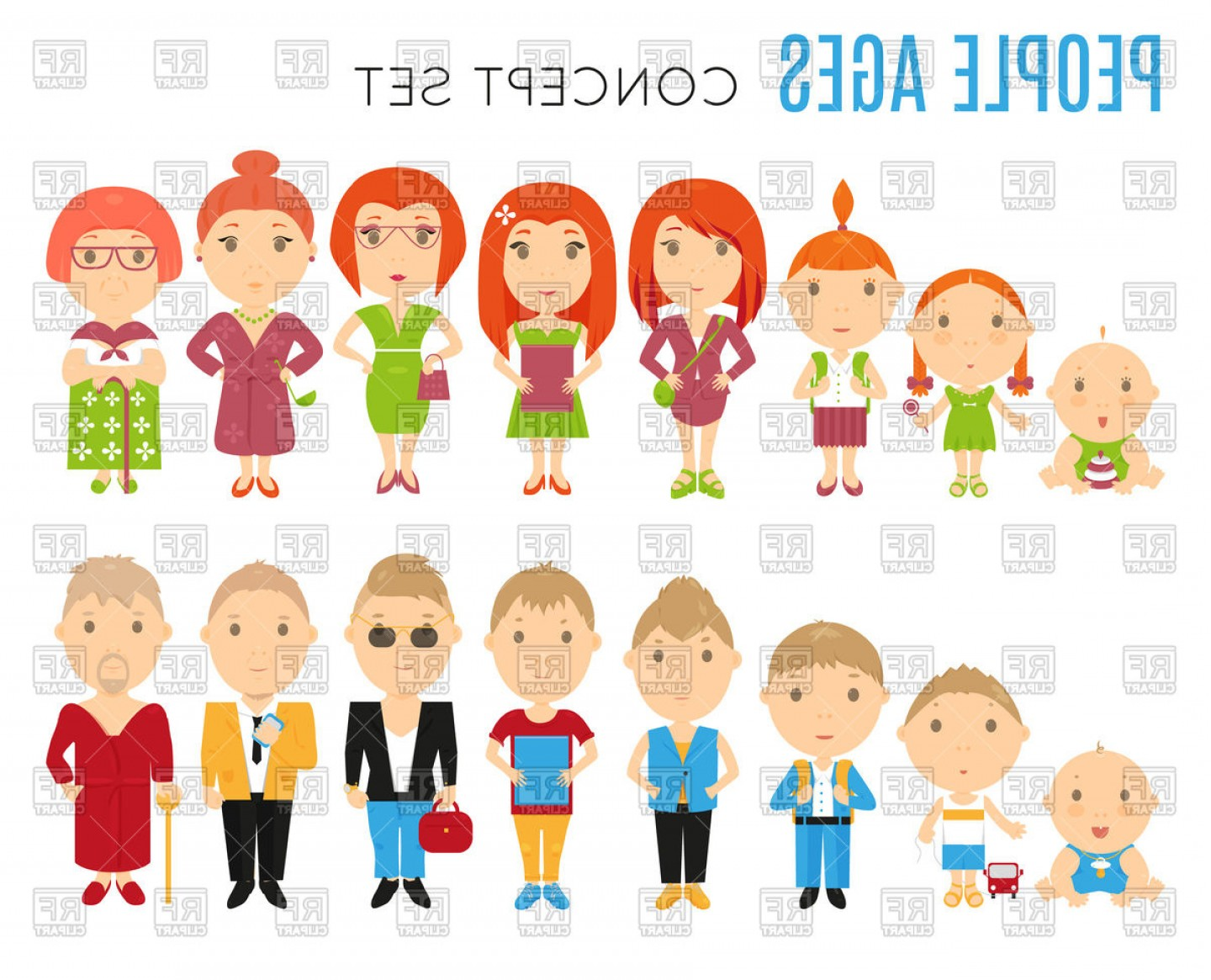 Vector People Free Clip Art: Set Of People Age Flat Icons Vector Clipart