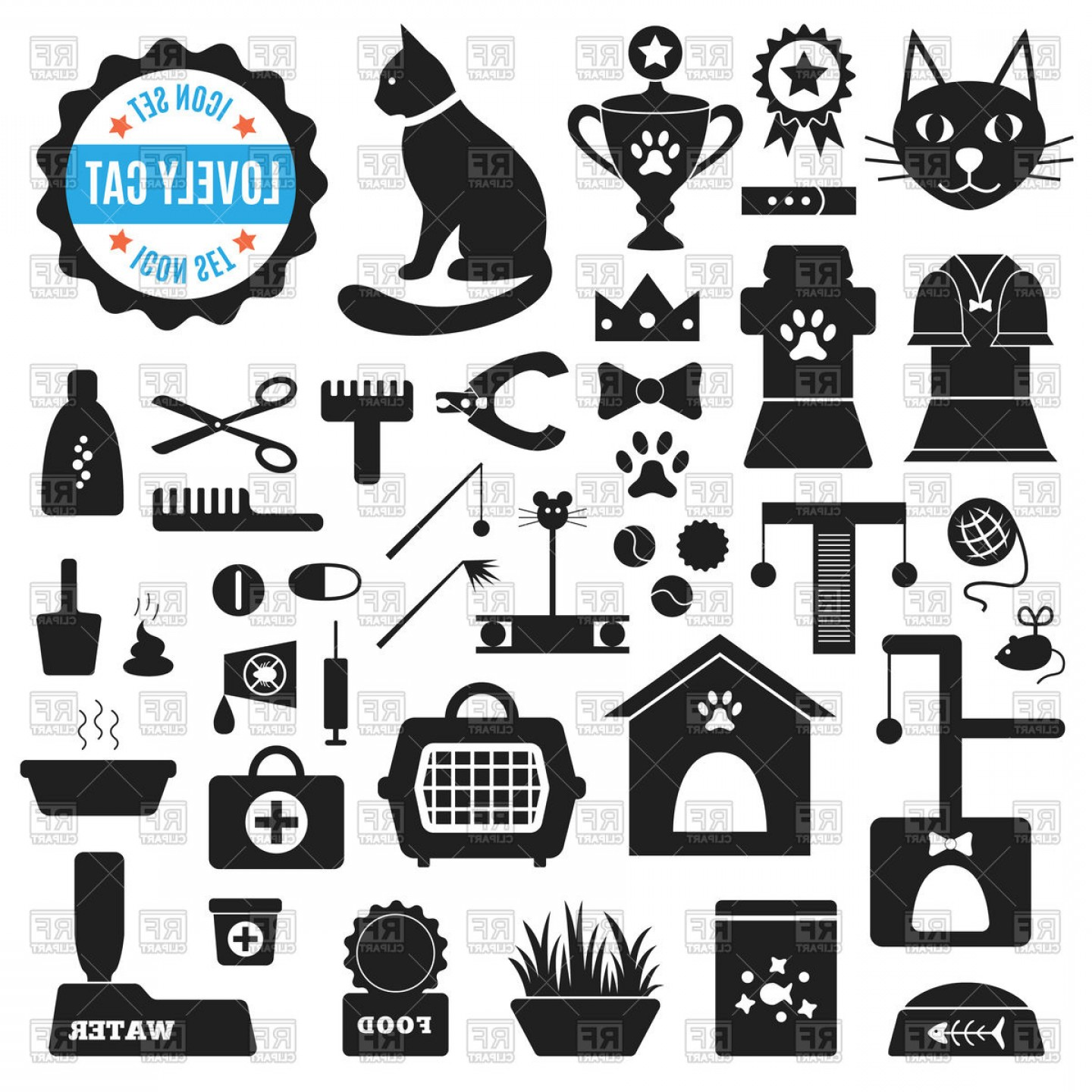 Dog And Cat Vector Illustration: Set Of Pet Shop Icons Products For Cats Vector Clipart