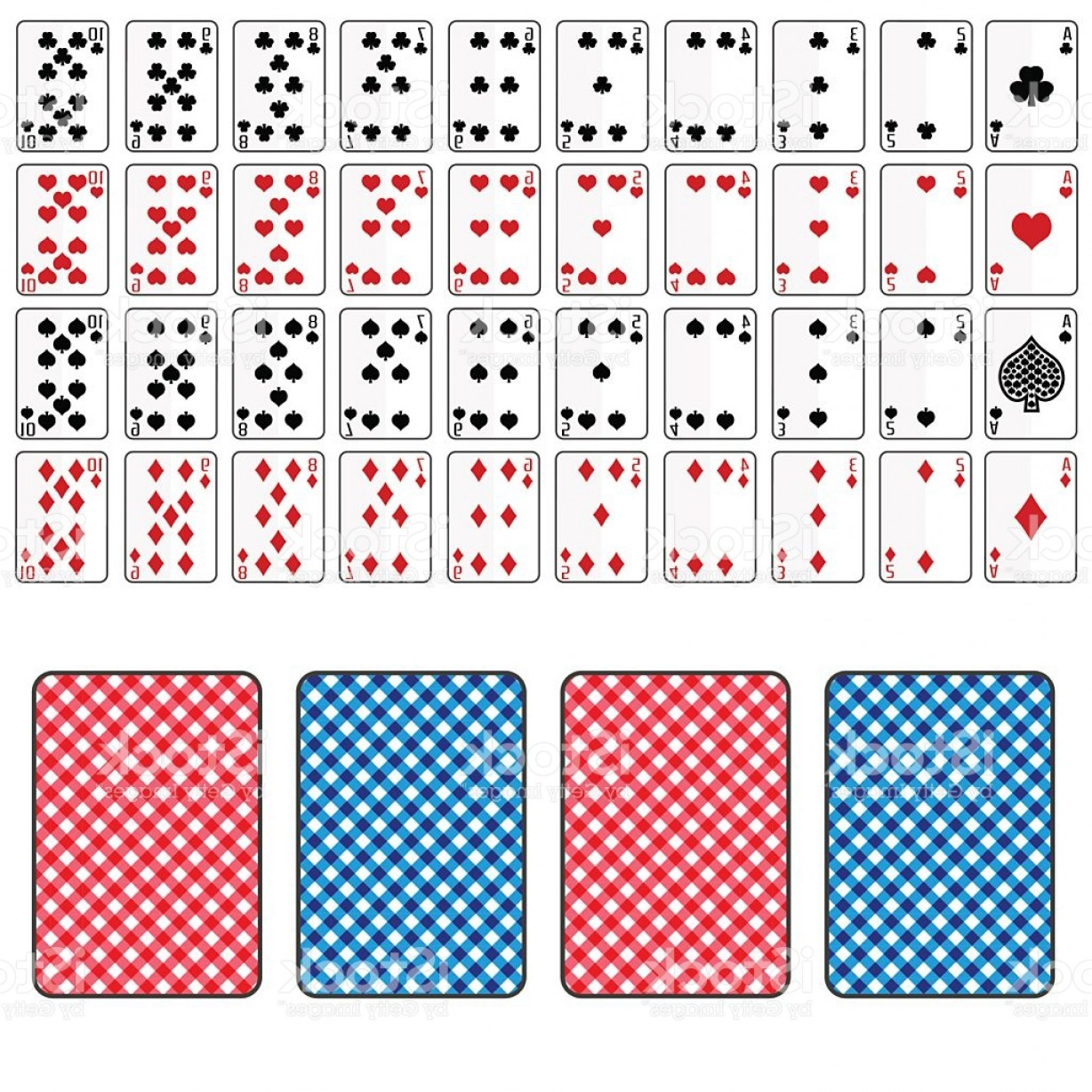 10 Playing Card Vector: Set Of Playing Cards From Ace To Ten Eps Gm