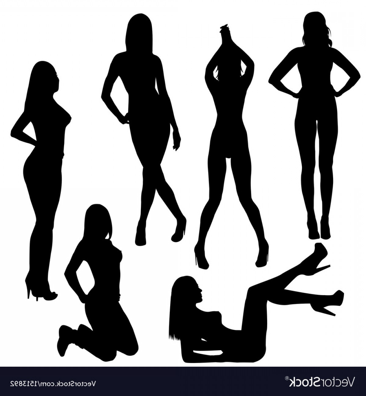 Sexy Silhouette Vector Art: Set Of Sexy Silhouettes Vector