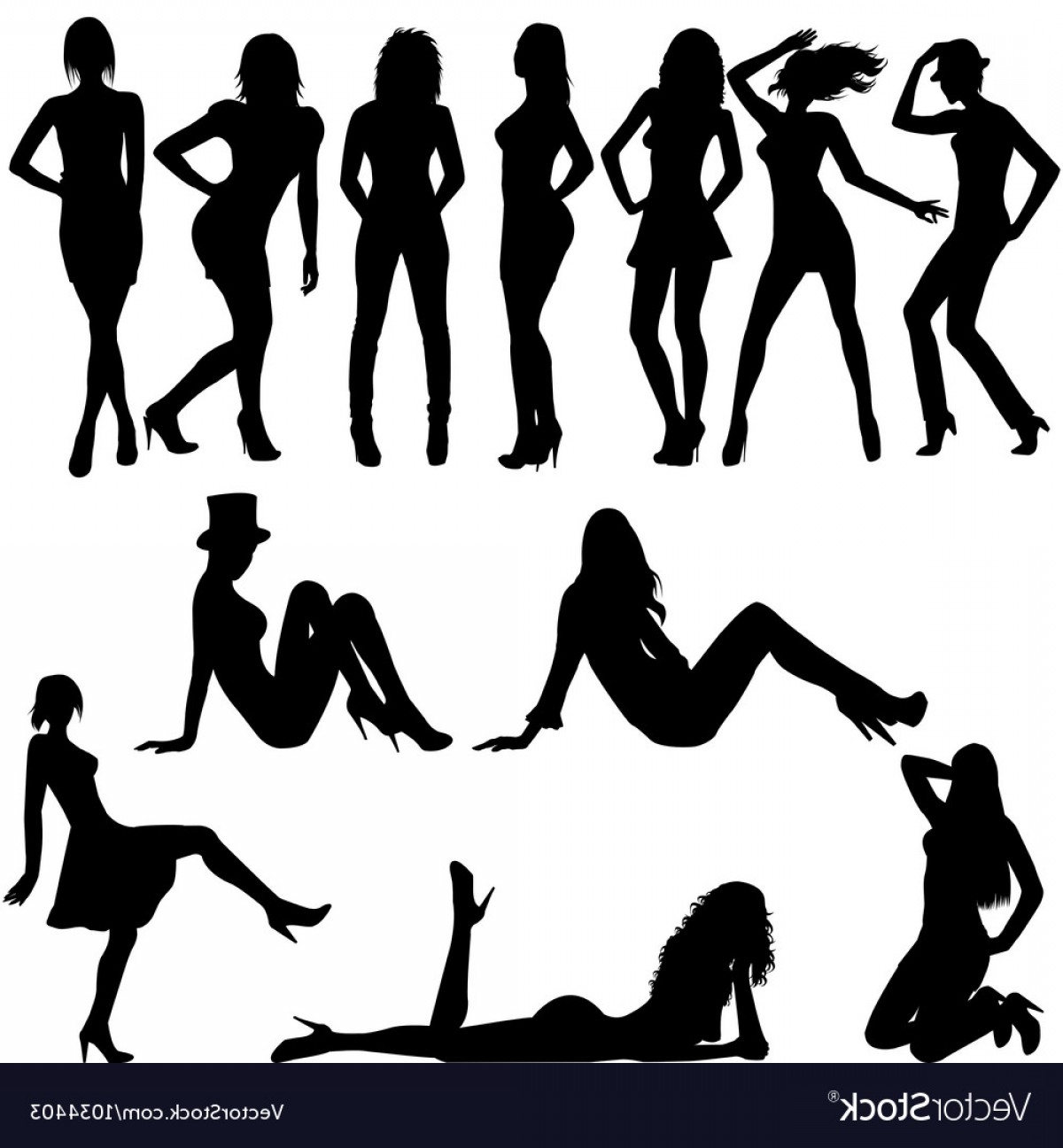 Sexy Silhouette Vector Art: Set Of Sexy Women Silhouettes Vector