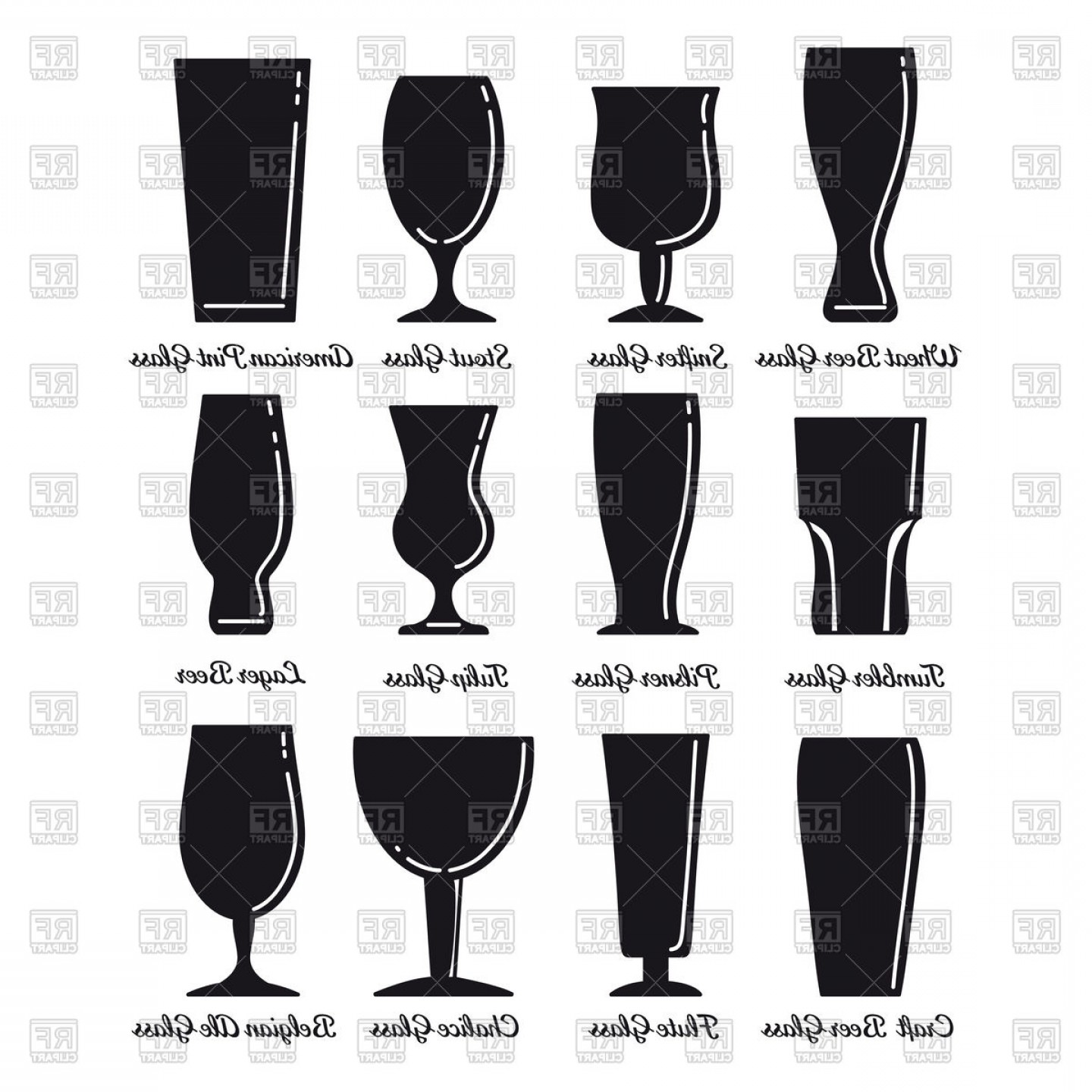 Beer Chalice Vector Logo: Set Of Silhouette Beer Glasses Icons On White Background Vector Clipart