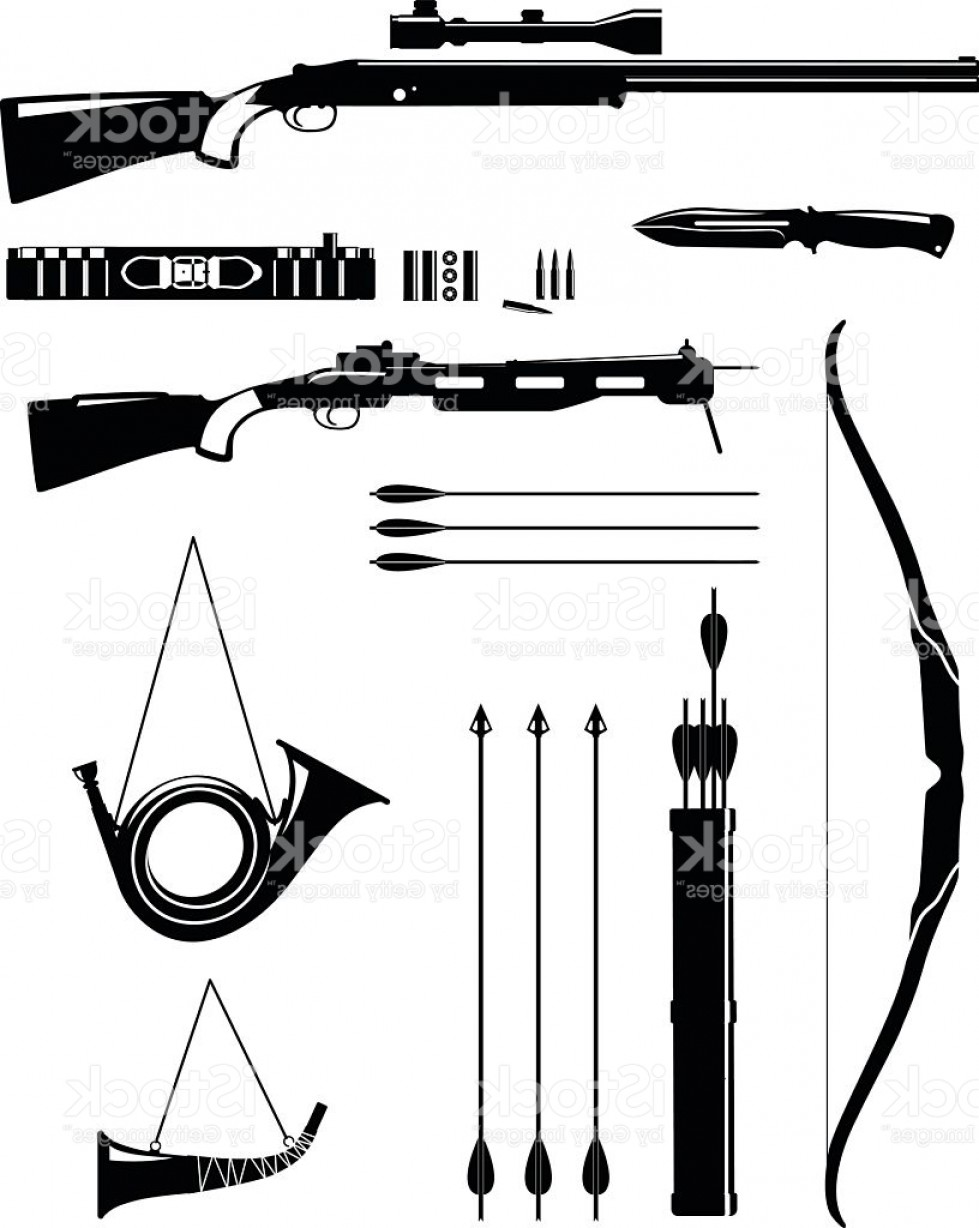 Hunting Rifle Vector Cross: Set Of Silhouette Hunting Weapons In Flat Style Gm