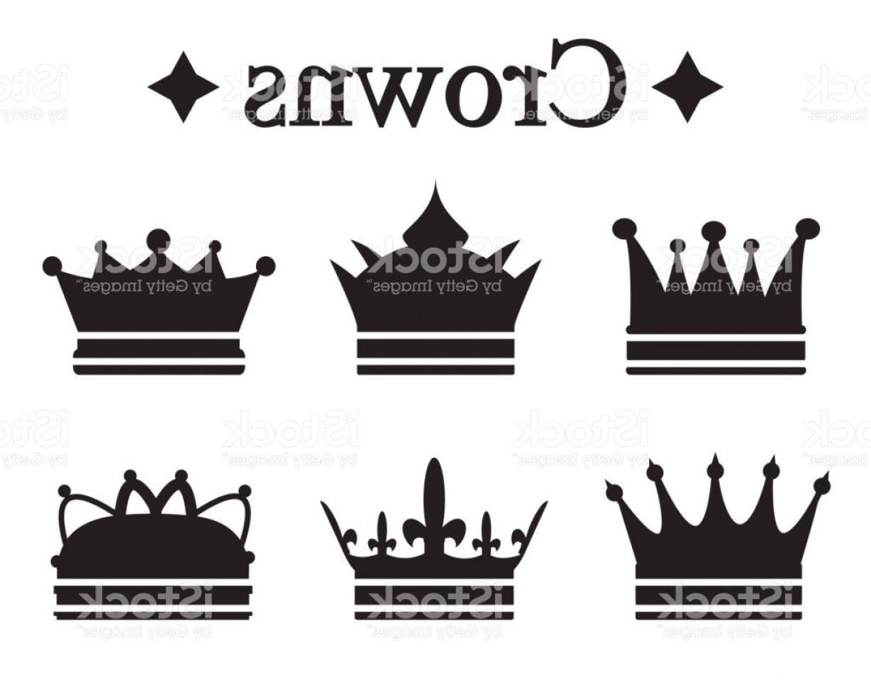 Baby Tiara Silhouette Vector: Set Of Silhouettes King Crown Or Pope Tiara Vector Illustration Gm