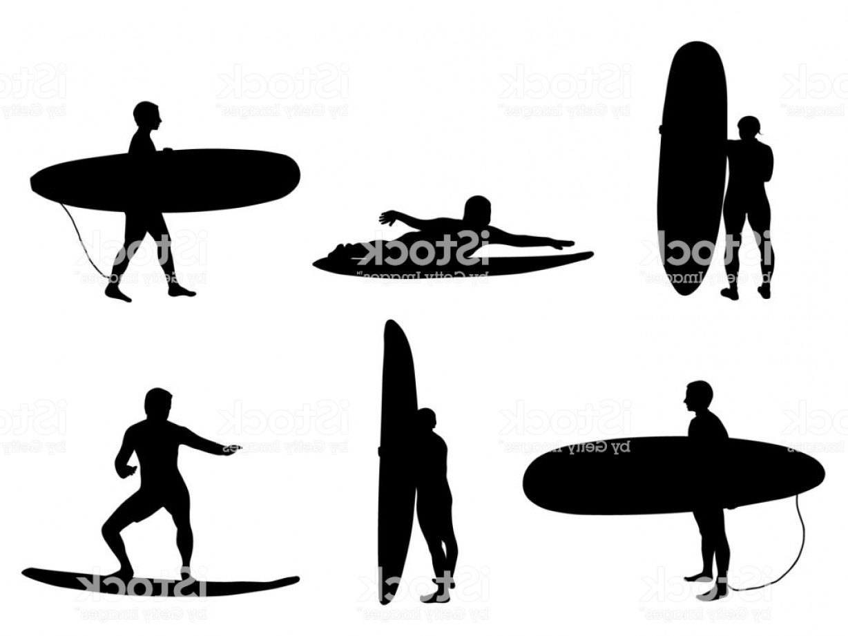 Waves With Surfer Silhouette Vector: Set Of Silhouettes Of Surfers Stand And Look On Wave Gm