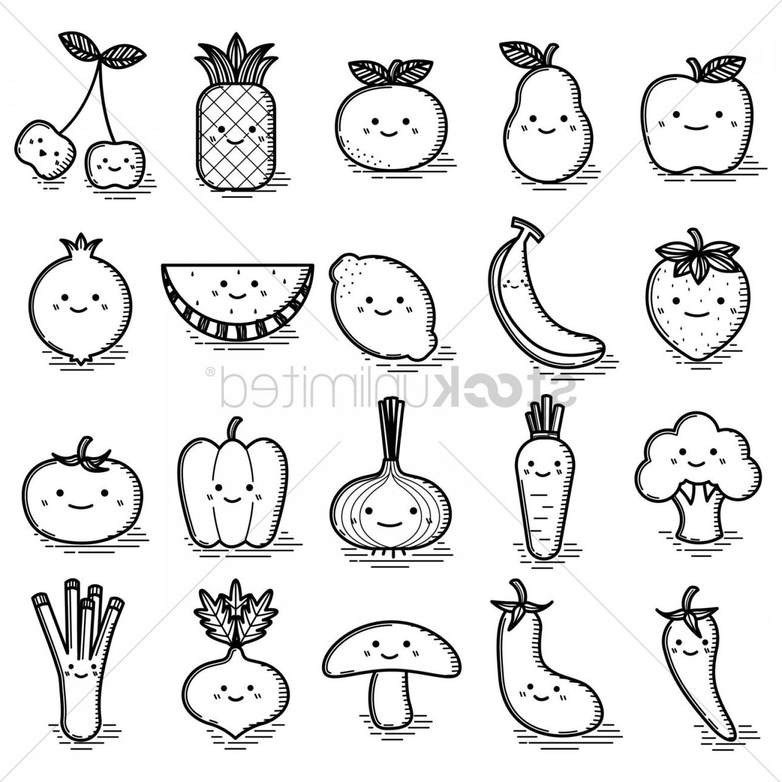 Smile Vector Art: Set Of Smiling Characters Of Fruits And Vegetables