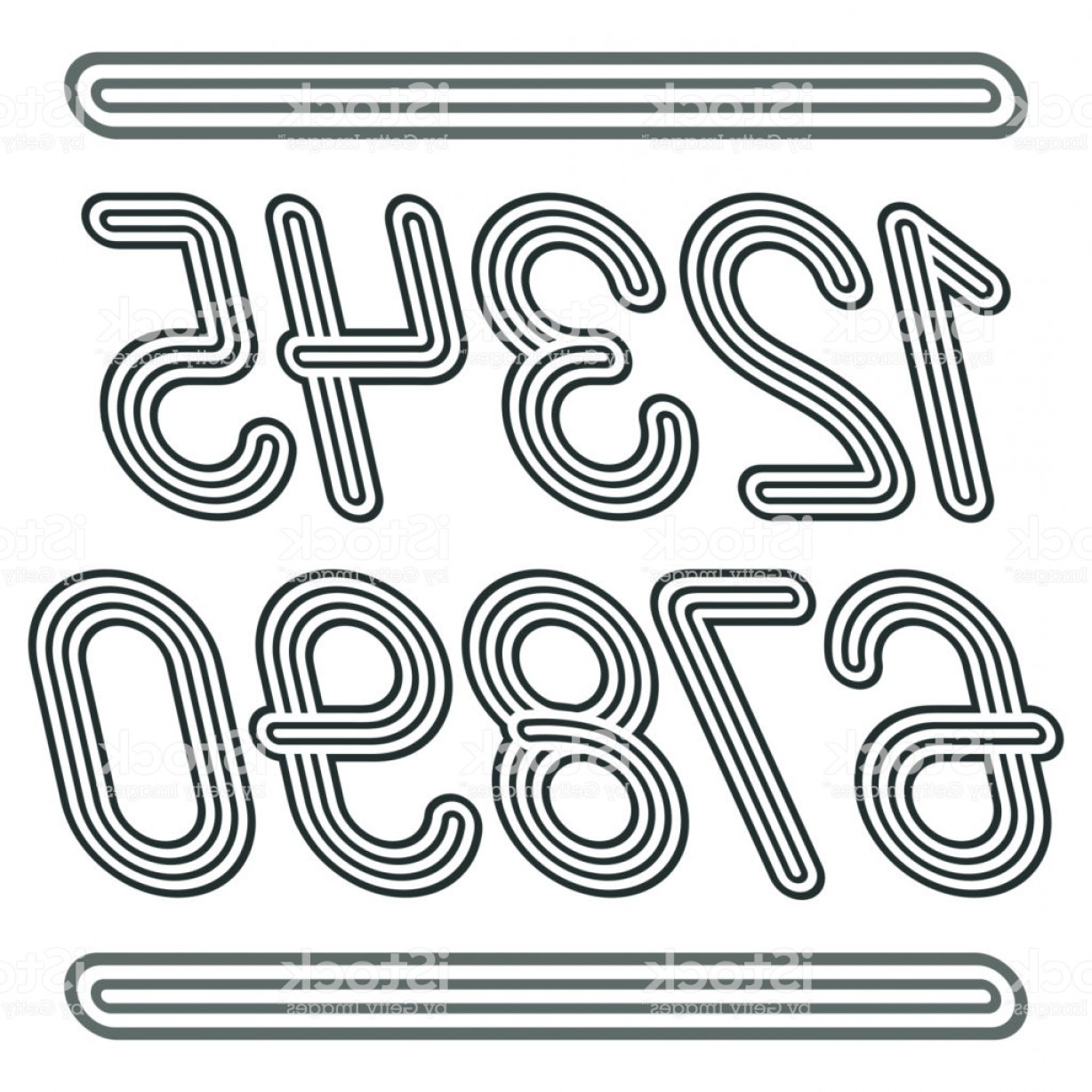 Cursive Lines Vector: Set Of Stylish Disco Vector Digits Modern Numerals Collection Funky Cursive Gm
