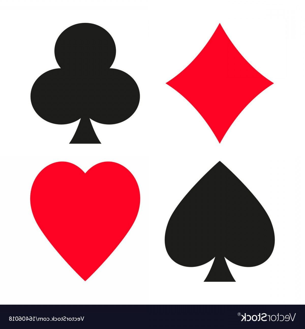 Card Suits Vector Outlines: Set Of Symbols Of Playing Cards Suit Vector