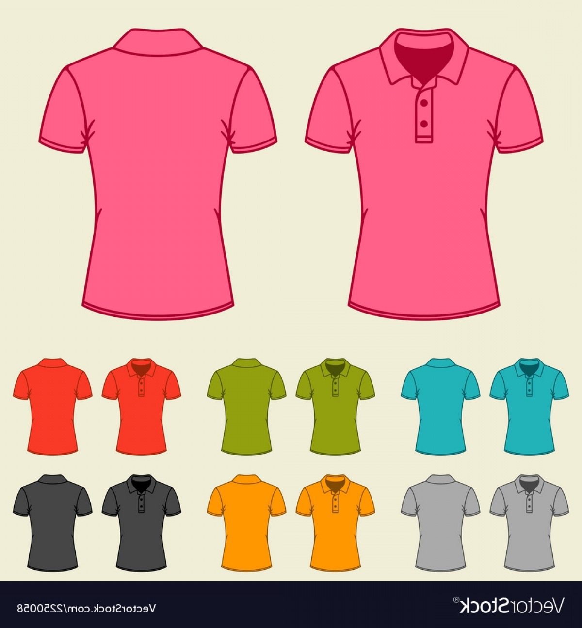 Female Polo Shirt Vector Template: Set Of Templates Colored Polo Shirts For Women Vector