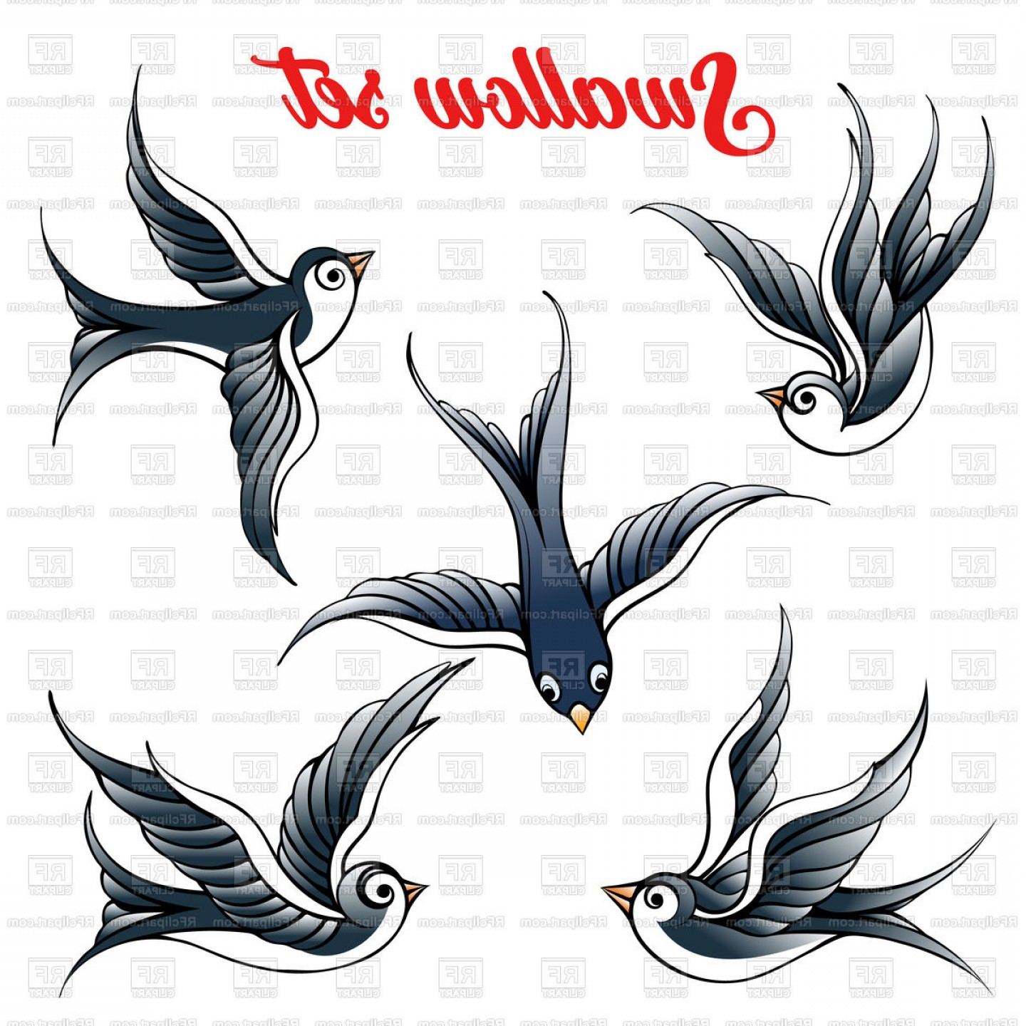 Swallow Vector: Set Of The Swallow Vector Clipart