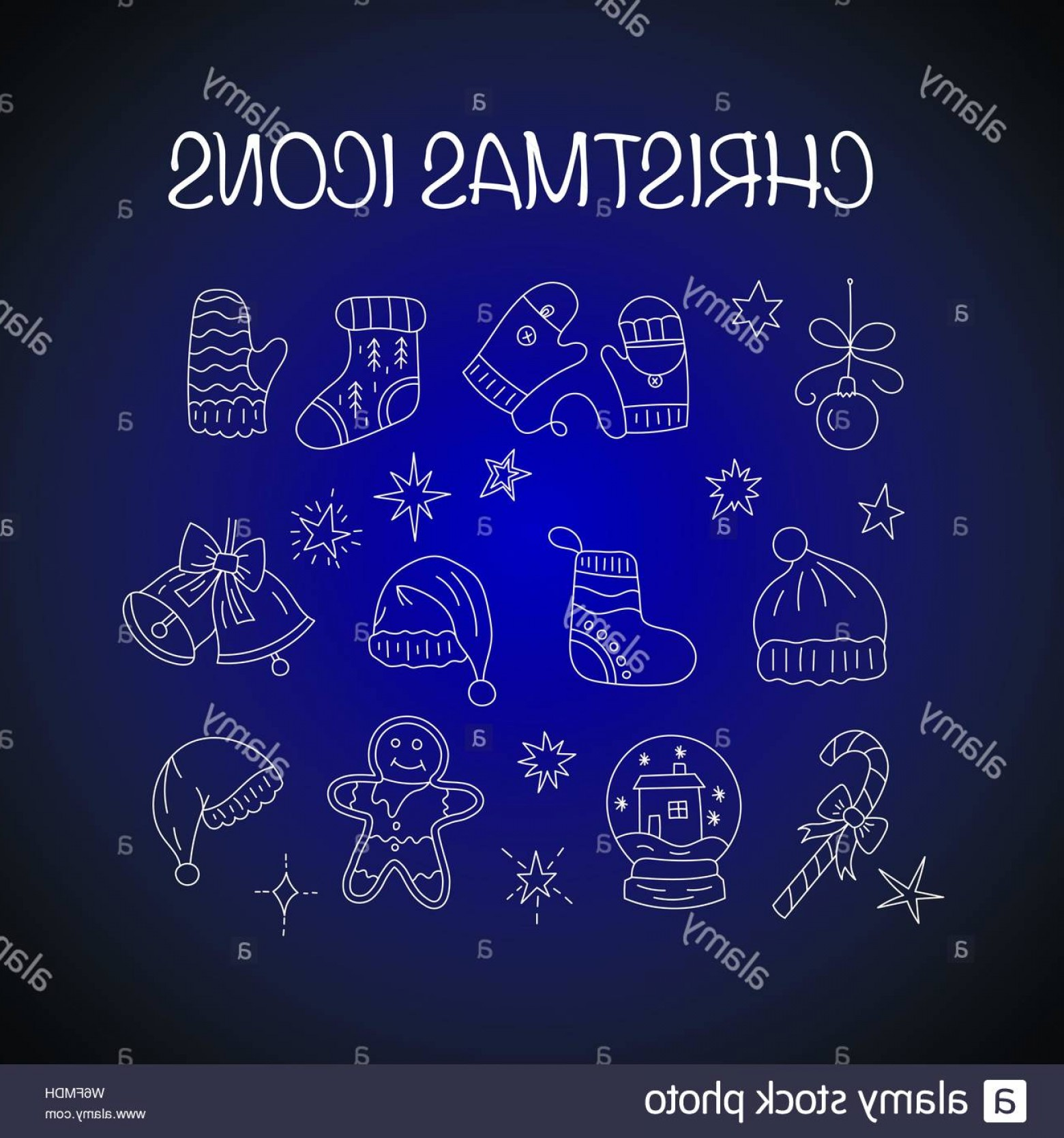 Snow Cone Outline Vector: Set Of Thin Line Outline Vector Christmas Icons Bell Biscuit Snow Glow Socks Snow Ball Hat Candy Ets Image