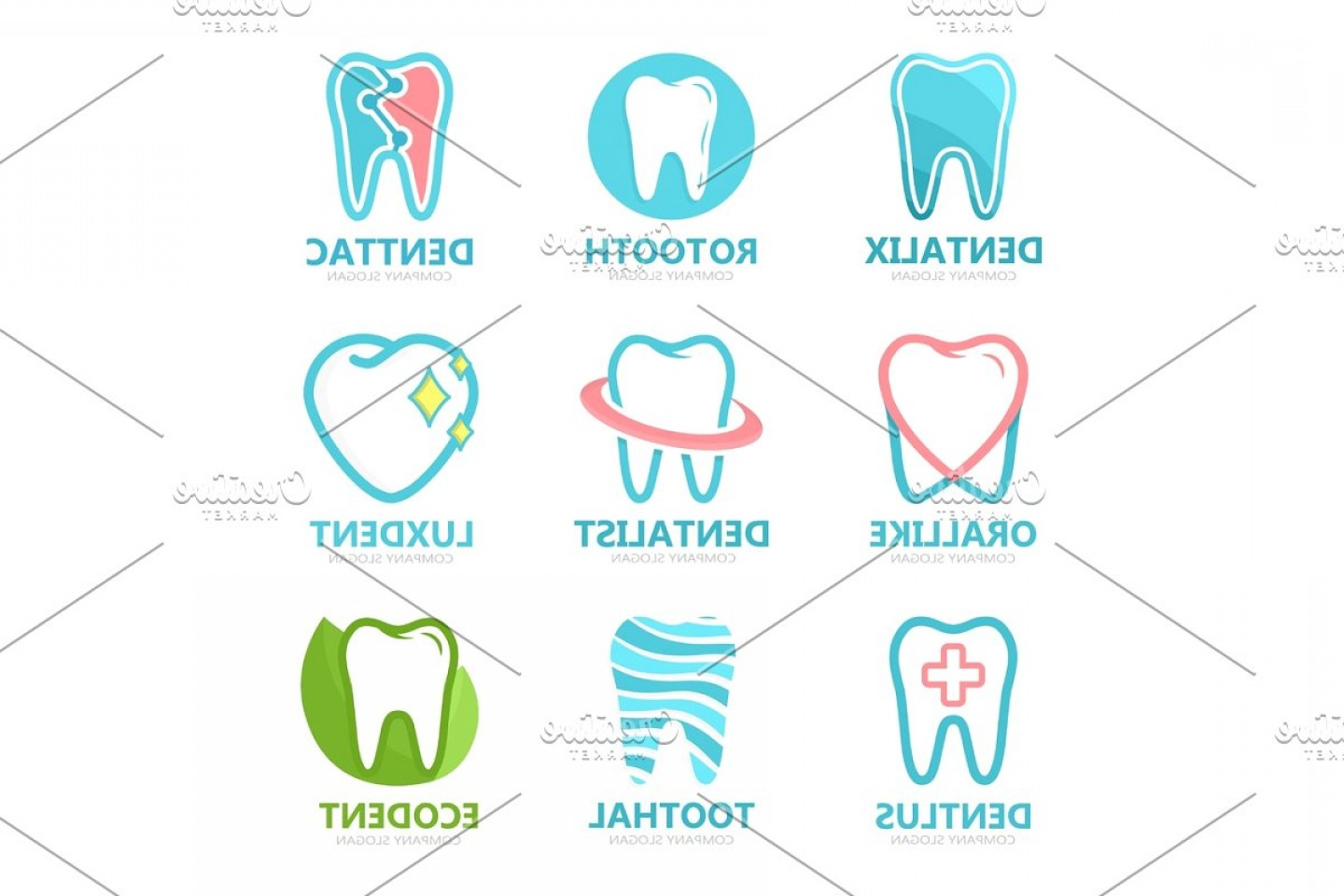 Tooth Vector Logo: Set Of Tooth Logo Design Template